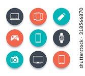 gadgets  round icons set ...