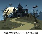 halloween haunted castle  trees ... | Shutterstock .eps vector #318578240