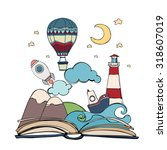 imagination concept   open book ... | Shutterstock .eps vector #318607019