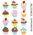 vector illustration of cupcake... | Shutterstock .eps vector #318611738
