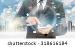 double exposure of businessman... | Shutterstock . vector #318616184
