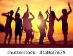 people celebration beach party... | Shutterstock . vector #318637679