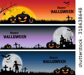 happy halloween banner set... | Shutterstock .eps vector #318638648