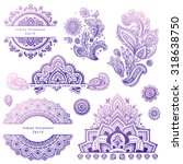 Set Of Vector Indian Floral...