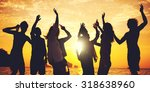 people celebration beach party... | Shutterstock . vector #318638960