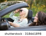 two beautiful cheerful traveler ... | Shutterstock . vector #318661898