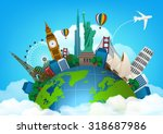 the concept of travel. famous... | Shutterstock .eps vector #318687986