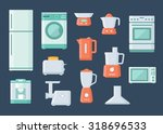 kitchen appliances and... | Shutterstock .eps vector #318696533