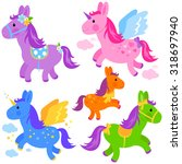 cute colorful pony collection.   Shutterstock .eps vector #318697940