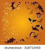 halloween background with bats... | Shutterstock .eps vector #318713450