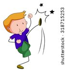 little boy punching and kicking ...   Shutterstock .eps vector #318715253