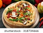 heart shaped pizza and fresh... | Shutterstock . vector #318734666