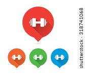 colorful round long shadow gym... | Shutterstock .eps vector #318741068