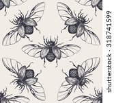 beetles seamless pattern.... | Shutterstock .eps vector #318741599