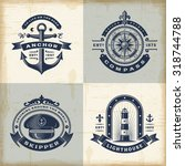 set of vintage nautical labels. ... | Shutterstock .eps vector #318744788