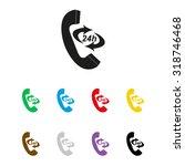 icon 24 hour call center   ... | Shutterstock .eps vector #318746468