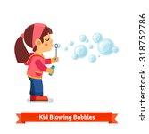 cute little girl blowing soap... | Shutterstock .eps vector #318752786