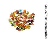 Small photo of precious gems isolated on white background