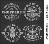 vintage motorcycle labels ... | Shutterstock .eps vector #318756368