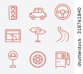 road icons  thin line style ... | Shutterstock .eps vector #318761840