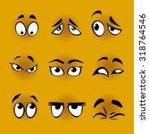 set of cartoon eyes on yellow... | Shutterstock .eps vector #318764546