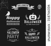set of retro vintage halloween... | Shutterstock .eps vector #318766334