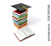 3d books and student cap on...   Shutterstock . vector #318769568
