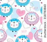 seamless cute sheep pattern... | Shutterstock .eps vector #318783860