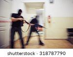 two terrorists with rifles in... | Shutterstock . vector #318787790