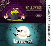 set of halloween web banners.... | Shutterstock .eps vector #318789416