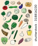 vegetable illustration set | Shutterstock .eps vector #318816230