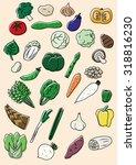 vegetable illustration set | Shutterstock .eps vector #318816230