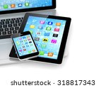 laptop  phone and tablet pc. | Shutterstock . vector #318817343