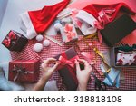 gift wrapping for christmas and ... | Shutterstock . vector #318818108