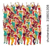 crowd happy people isolate on... | Shutterstock .eps vector #318831308
