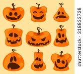 halloween pumpkin face set with ...   Shutterstock .eps vector #318833738