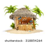 bamboo tropical bar on a pile... | Shutterstock . vector #318854264