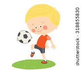 Little Blond Boy Playing Socce...