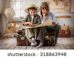 two boys in the form of pilot... | Shutterstock . vector #318863948