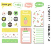 set of bright hand drawn cards... | Shutterstock .eps vector #318865754