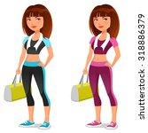 cute cartoon girl in sporty...   Shutterstock .eps vector #318886379