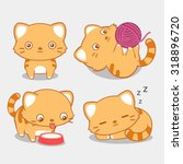 Cute Cat Set  Vector...