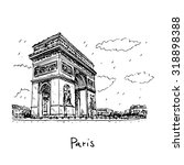arc de triomphe  paris  france. ... | Shutterstock .eps vector #318898388