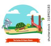 Stock vector the tortoise and the hare turtle and rabbit racing together to win finish line red ribbon flat 318902183