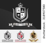 shield and wreath laurel with... | Shutterstock .eps vector #318907580