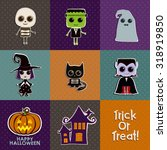 halloween characters icon set | Shutterstock .eps vector #318919850