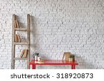 White Brick Wall Red Table...