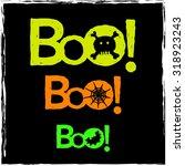 neon boo text halloween...   Shutterstock .eps vector #318923243