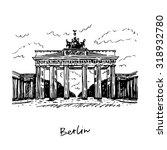 brandenburg gate  berlin ... | Shutterstock .eps vector #318932780