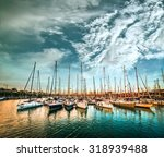 Sea Bay With Yachts Against Sky